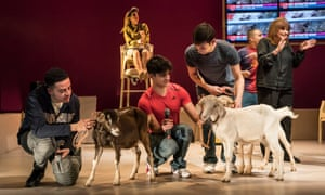 Ali Barouti, Ethan Kai and Adnan Mustafa in Goats, by Liwaa Yazji, at the Royal Court theatre, London.