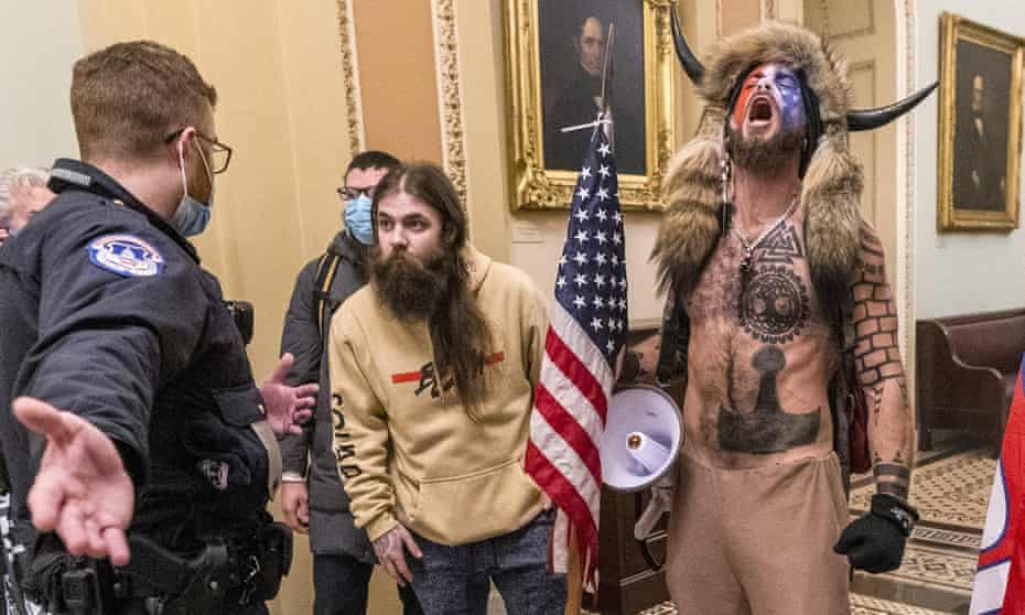 Trump supporters inside the Capitol on 6 January.