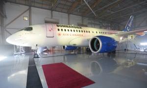 A Bombardier CSeries jet.