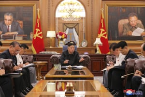Pyongyang, North Korea Kim Jong-un, centre, convenes a meeting of senior officials of the Party Central Committee and provincial party committees. The meeting was held to run an evaluation of the country's economy in the second half of the year