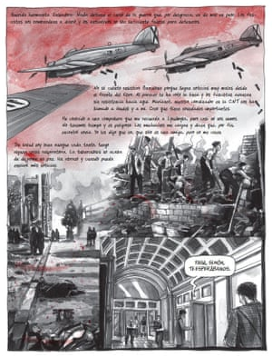 Bombs from Italian air force planes rain down on Barcelona in 1939 in the graphic novel.