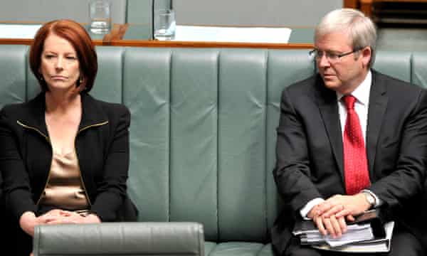 Julia Gillard with Kevin Rudd who ousted her as prime minister in June 2013