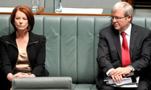 Julia Gillard and Kevin Rudd pictured in the House of Representatives in October 2010