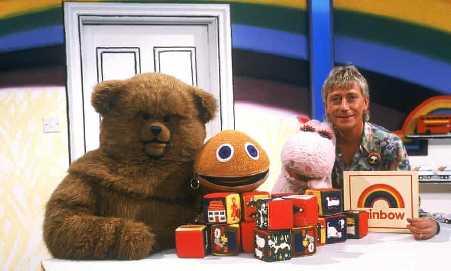 The Rainbow gang – Bungle, Zippy, George and presenter Geoffrey Hayes.