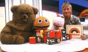 Geoffrey Hayes, presenter, with the Rainbow characters: Bungle the bear, Zippy and George the pink hippo. Pamela Lonsdale produced the show, which was designed to develop children's language and social skills.