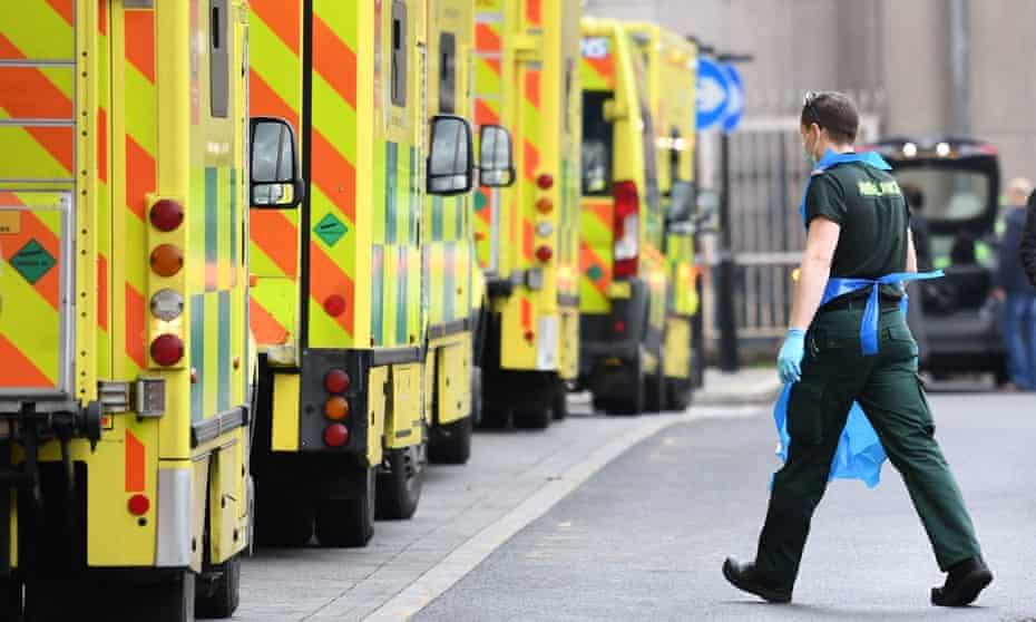 Ambulances at Whitechapel hospital in London.