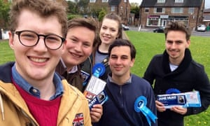 Elliott Johnson, second from right, campaigning in south Nottingham.