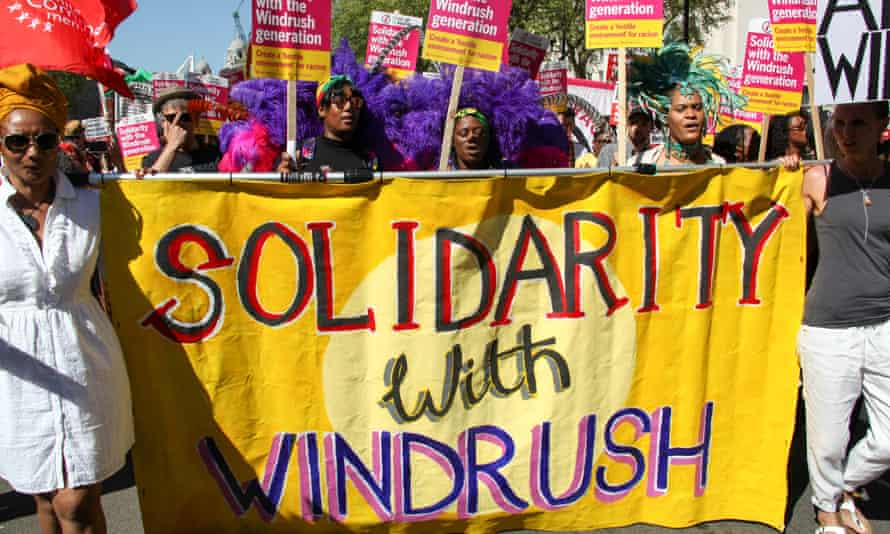 Protesters in support of Windrush victims in 2018