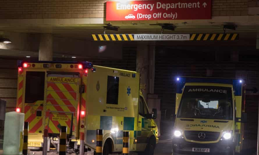 """An ambulance leaves as another arrives at the A&E unit of the Bristol Royal Infirmary on 10 January 2017. The British Red Cross claimed the NHS was facing a """"humanitarian crisis"""" in winter 2016 because of long waiting times."""