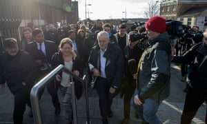 Labour leader Jeremy Corbyn and reporters in Stoke on Friday.