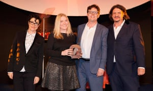Nicola Lando and Nick Carter of Sous Chef with their Best Independent Retailer award, with Sue Perkins with Jay Rayner
