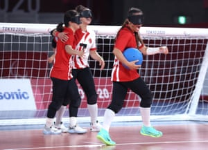 Turkey's Kader Celik (with ball) celebrates after defeating the United States in the women's Goalball gold medal match.