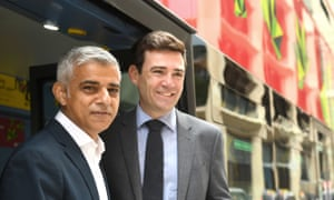Sadiq Khan, mayor of London (left) and with Andy Burnham, mayor of Greater Manchester, at a clean air summit at Mansion House in London yesterday.