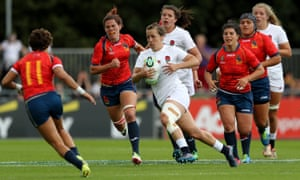 England's Katy Daley-Mclean makes a break during the 2017 Women's Rugby World Cup match against Spain.