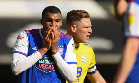Ipswich's Collin Quaner crestfallen during his side's draw against Birmingham.