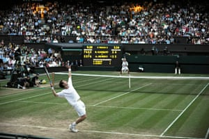 2008: Murray serves in the final game in his epic fourth-round win over Richard Gasquet on Centre Court at Wimbledon