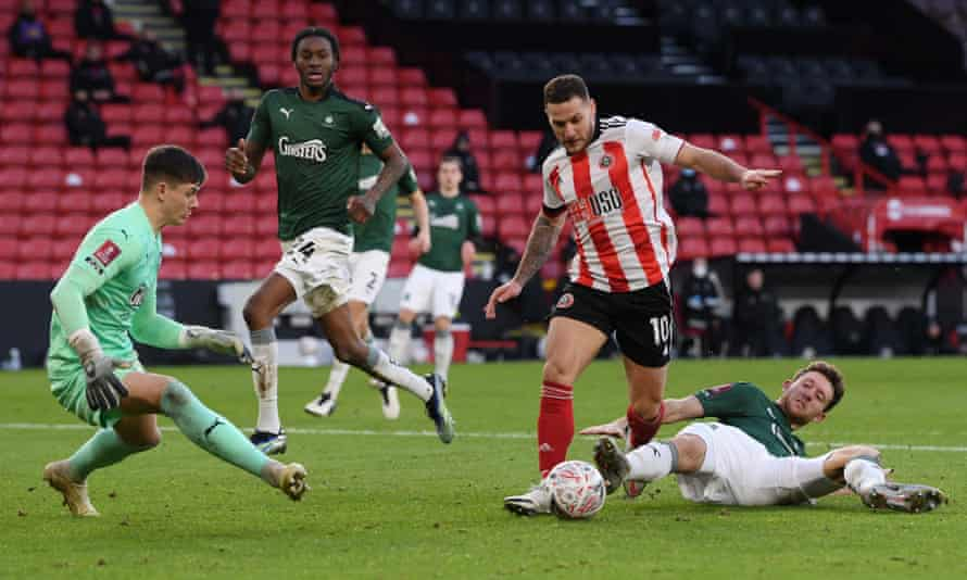 Billy Sharp prepares to score his vital second goal at Bramall Lane
