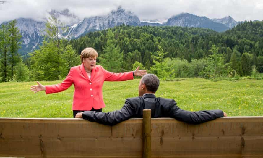 German chancellor Angela Merkel speaks with US president Barack Obama