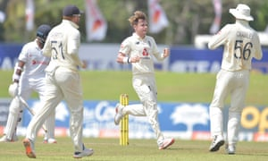 England's Sam Curran celebrates after taking the wicket of Lahiru Thirimanne.