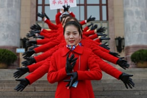 Beijing, China: Hostesses in front of the Great Hall of the People