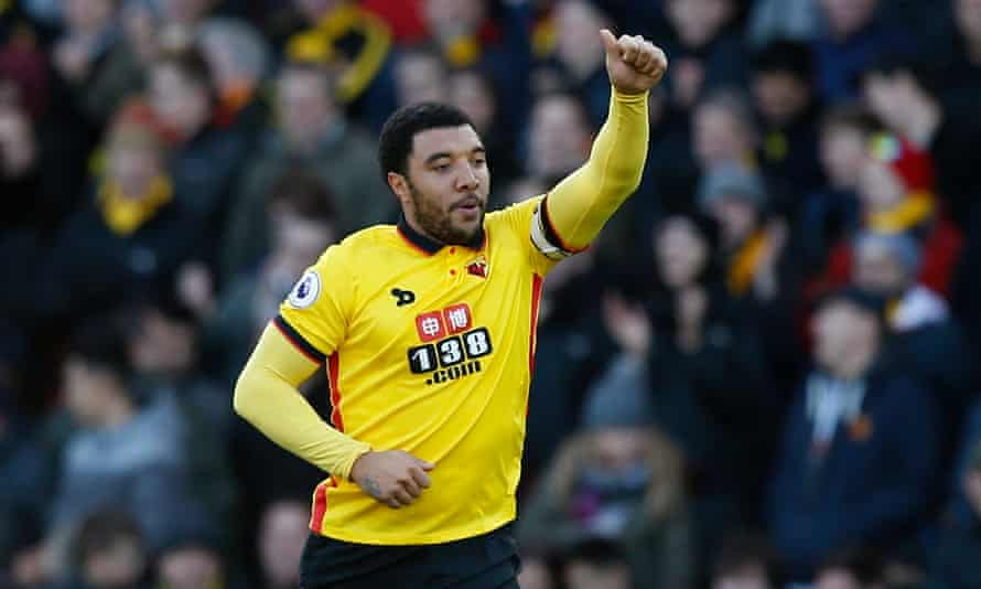 Troy Deeney celebrates getting Watford's equaliser from the penalty spot against Crystal Palace in the Premier League – his 100th goal for Watford
