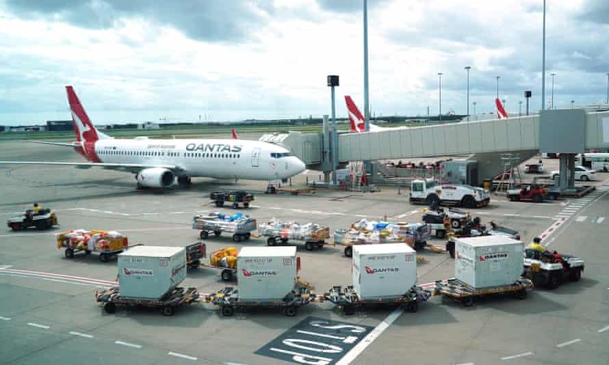 Qantas ground staff are seen operating at Brisbane's domestic terminal