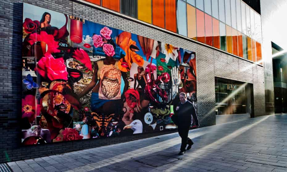 Linder's photomontage mural in College Lane, one of several outdoor artworks commissioned by the festival.