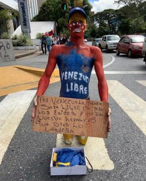 A protester in Caracas