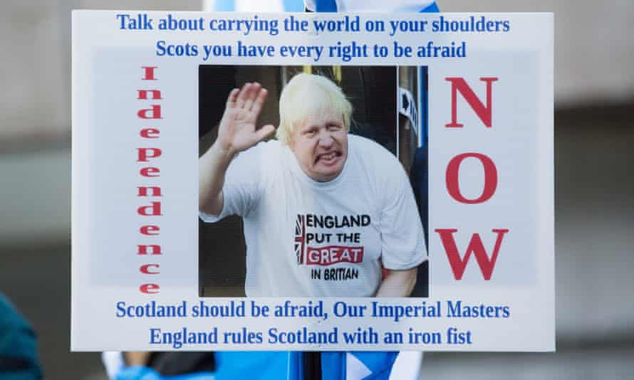 A placard calling for an independence referendum in Scotland