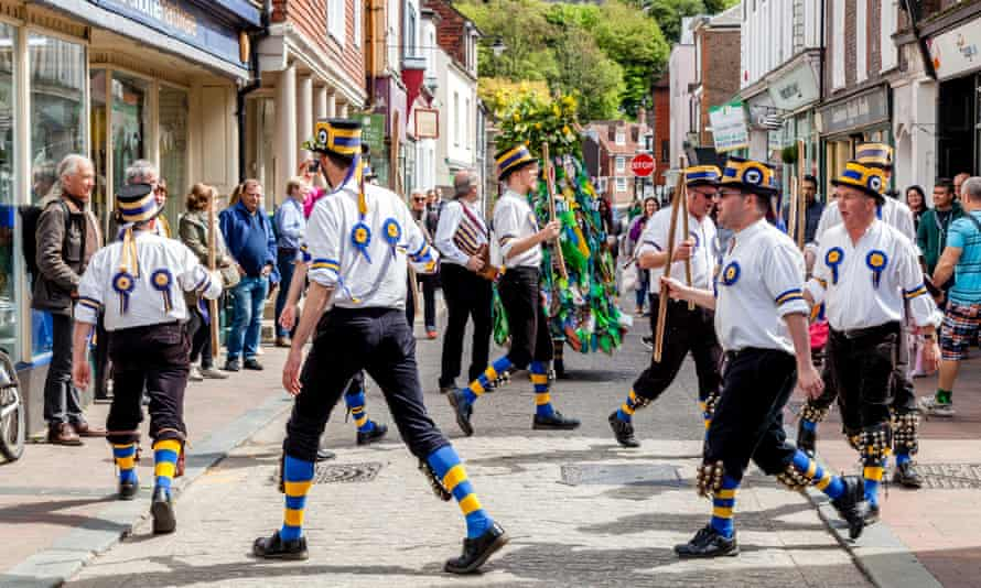 Traditional morris dancers in Lewes, Sussex.