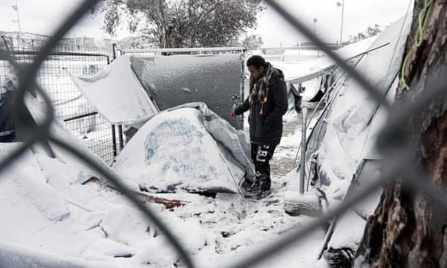 A camp at Moria, Lesbos, following heavy snowfall in January 2017.