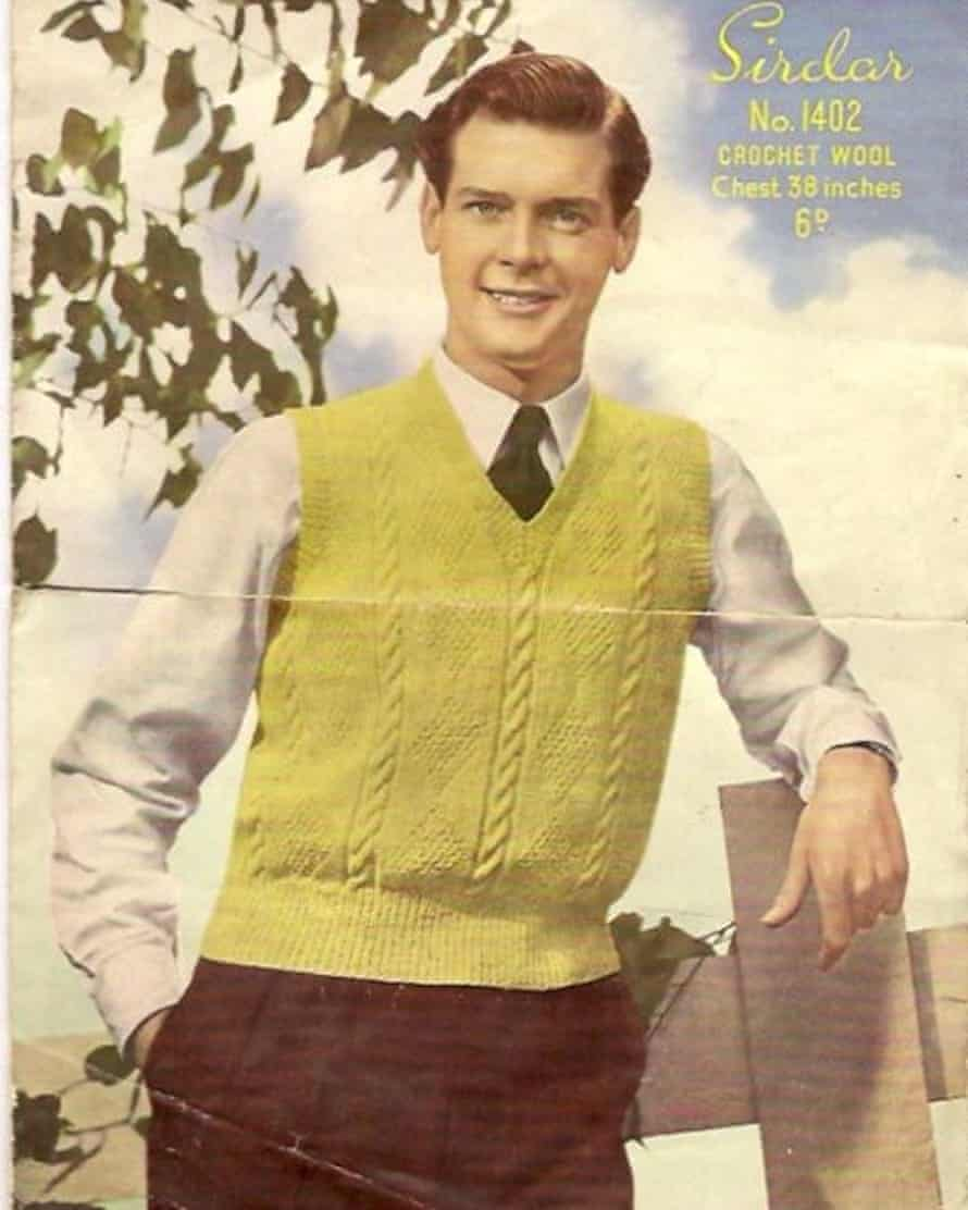 'I found this knitting pattern for a yellow tank top in a charity shop in Cardiff back in 1997. The model looked very familiar'