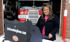 Monica Kelsey, president of Safe Haven Baby Boxes Inc, poses with a prototype