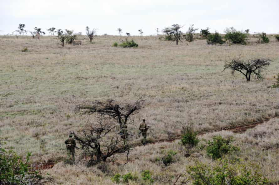 Park rangers walk in the bush during a day patrol at the Lewa Wildlife Conservancy.