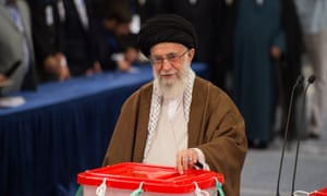 The supreme leader casts his vote first thing on Friday