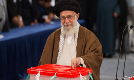 Ayatollah Ali Khamenei casts his vote.