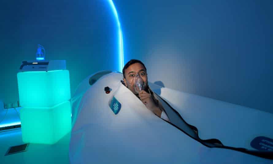 Rhik Samadder in a hyperbaric oxygen chamber.