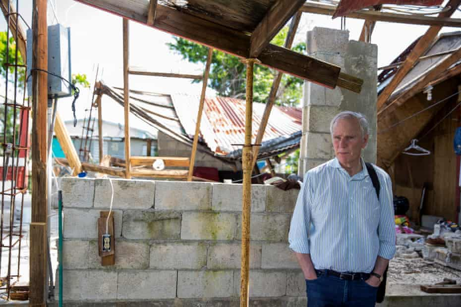 Alston inspects the residence of Norma Judith Colón, which was damaged by Hurricane María.
