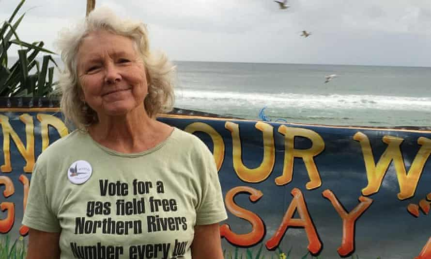 Meg Nielsen, 66, a farmer from Bentley near Lismore in Australia, pictured at Byron Bay main beach to celebrate one year since the Bentley Blockade stopped CSG drilling.