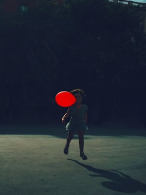 Christopher Anderson: Pia with balloon in Gracia, Barcelona, 2016. Buy this print Christopher Anderson writes: 'I chose this image because I notice a couple of my obsessions in it. The first, most obviously, is my obsession with photographing my family. I'm told that the colour red often appears in my photographs. Perhaps that qualifies as obsession. And, I really love The Red Balloon, by Albert Lamorisse.'