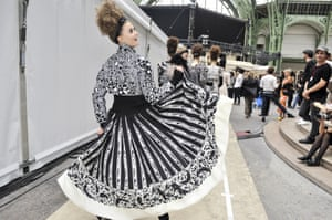 Lagerfeld's monochrome designs, backstage at Chanel's Autumn/Winter 2016 Haute Couture show