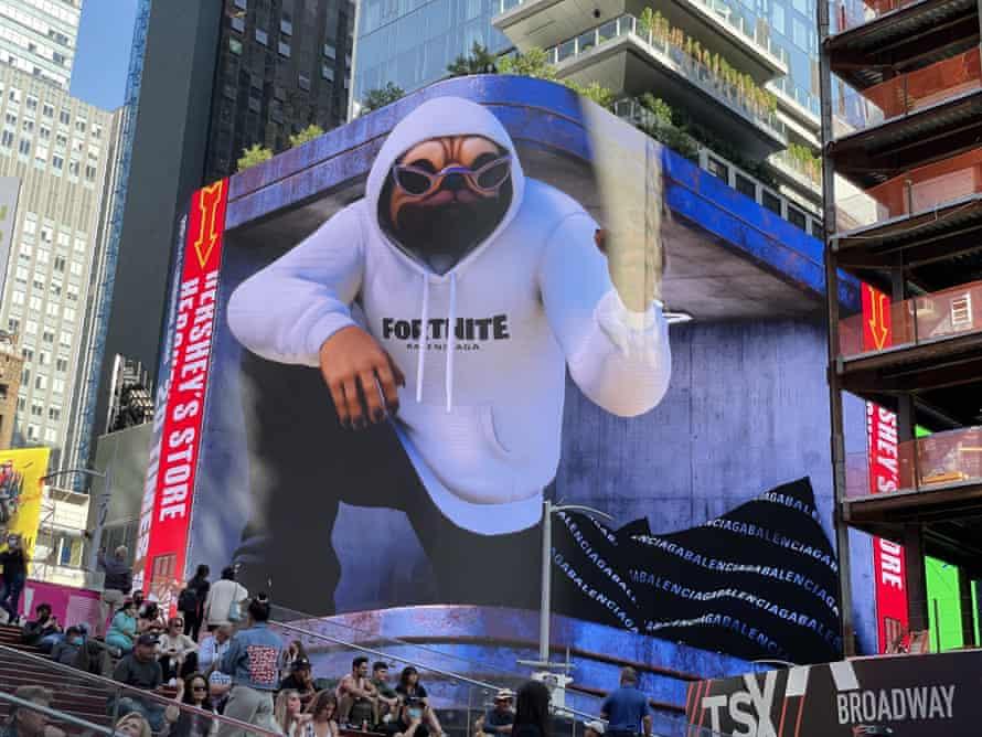 Balenciaga's 3D Fortnite billboard in Times Square, New York