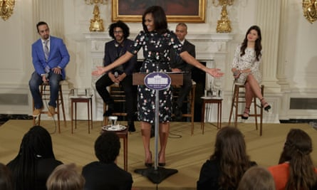First lady: Michelle Obama hosts the cast of Hamilton at the White House.