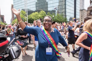 Yvonne M. Spicer, mayor of Framingham, Massachusetts marches alongside dozens of mayors from around the country during the 2018 Boston Pride Parade on June 9, 2018 in Boston, Massachusetts. Over 300 mayors are in town for the United States Conference of Mayors.
