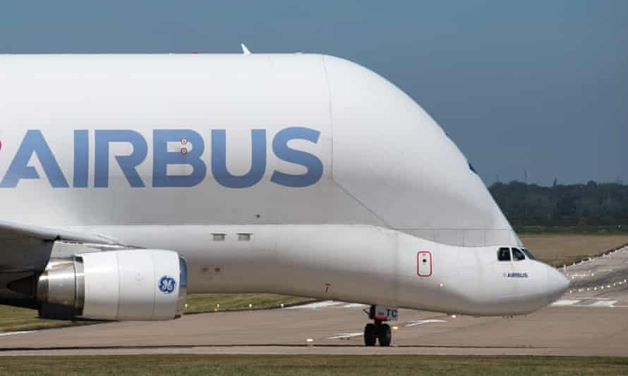 An Airbus plane prepares to take off from the firm's base in Broughton, north Wales.