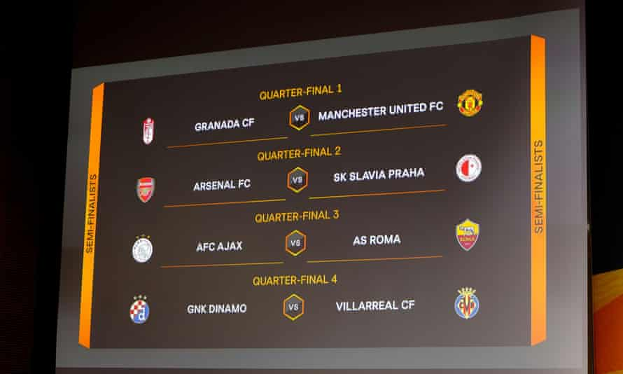 The draw means Arsenal could face a semi-final against Villarreal, where their former manager Unai Emery is in charge.