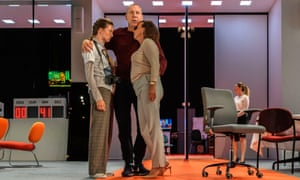 Gaite Jansen as Antigone, Hans Kesting as Oedipus and Marieke Heebink as Jocasta, in Robert Icke's version of Oedipus, from Internationaal Theater Amsterdam, at King's theatre, Edinburgh 2019.