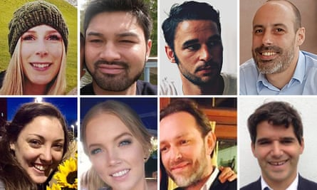 Victims of the London Bridge terrorist attack (top row left to right) Christine Archibald, James McMullan, Alexandre Pigeard, Sebastien Belanger (bottom row left to right) Kirsty Boden, Sara Zelenak, Xavier Thomas and Ignacio Echeverría.
