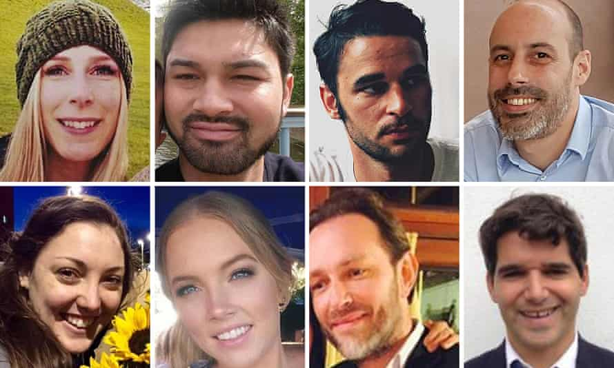 Victims of the London Bridge attack: (top row left to right) CChristine Archibald, James McMullan, Alexandre Pigeard, Sebastien Belanger, (bottom row) Kirsty Boden, Sara Zelenak, Xavier Thomas and Ignacio Echeverría