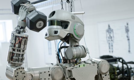 Testing Russian Humanoid Robot Fyodor At Android Technics Enterprise In MagnitogorskMAGNITOGORSK, RUSSIA - DECEMBER 8, 2016: Testing the Russian humanoid rescue robot Fyodor created by the Russian Foundation for Advanced Research Projects by order of the Russian Emergency Situations Ministry, at the Android Technics Scientific Production Association. The robot can be remotely controlled by a person in a special suit or work autonomously performing voice commands. PHOTOGRAPH BY TASS / Barcroft Images London-T:+44 207 033 1031 E:hello@barcroftmedia.com -